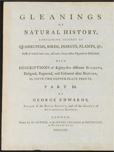 Gleanings of natural history, exhibiting figures of quadrupeds, birds, insects, plants &c...