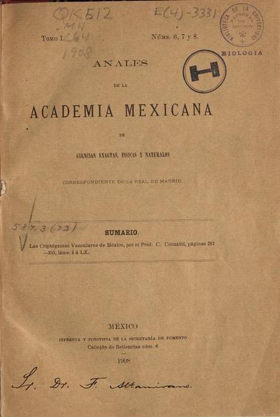 Las criptógamas vasculares de México
