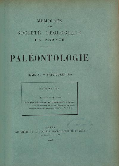 Mém. Soc. géol. Fr. Paléontol.