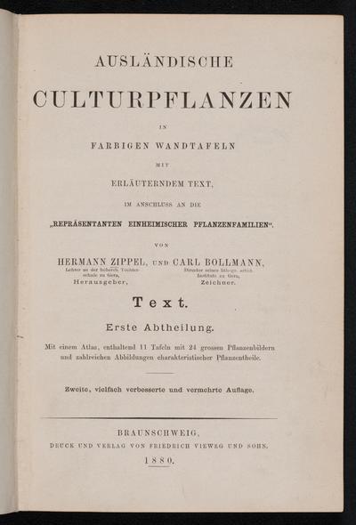 Ausländische Kulturpflanzen in farbigen Wandtafeln mit erläuterndem Text im anschluss an die Repräsentanten einheimischer pflanzenfamilien /