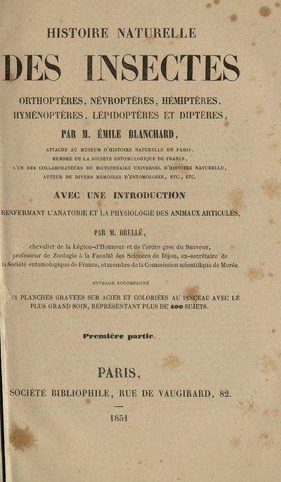Histoire naturelle des insectes orthoptères, nèvroptères, hémiptères, hyménoptères, lépidoptères et diptères /