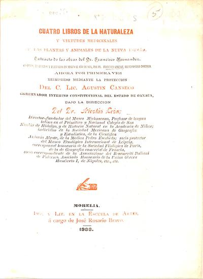 Rerum medicarum Novae Hispaniae thesaurus.