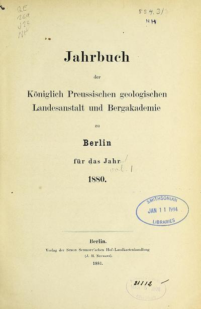 Jahrbuch der Königlich Preussischen Geologischen Landesanstalt und Bergakademie zu Berlin für das Jahr ...