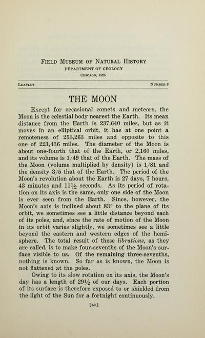 The moon / by Oliver C. Farrington, Curator of Geology.