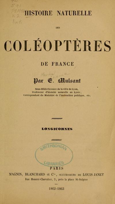 Histoire naturelle des coléoptères de France /