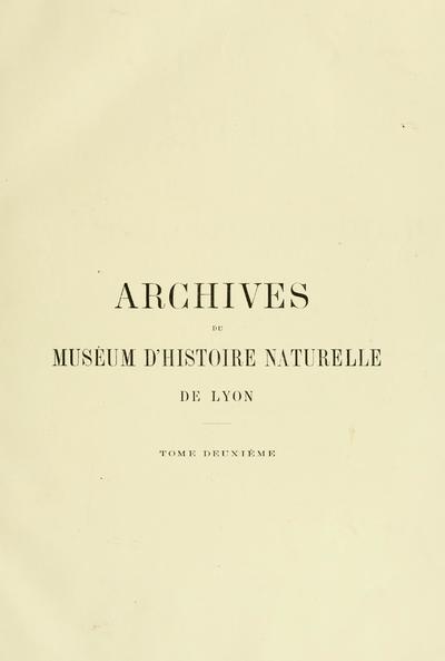 Archives du Muséum d'histoire naturelle de Lyon.