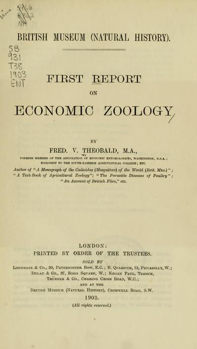 First report on economic zoology / by Fred. V. Theobald.