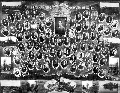 Biržų Apskr. II Rajono Pradž.Mokyklų Mokytojai 1921 - 1925./Biržų pilys./1701 - 1926/Fotografija/P.Ločerio./Biržai.