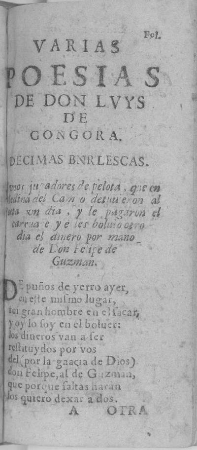 Varias poesias de Don Luys de Gongora : decimas burlescas