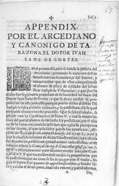 Appendix por el arcediano y canonigo de Tarazona, el dotor [sic] Ivan Sanz de Cortes ...