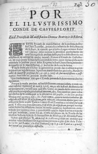 Por el Illustrissimo Conde de Castelflorit : en el processo de manifestacion Domnae Beatrizis de Ribera
