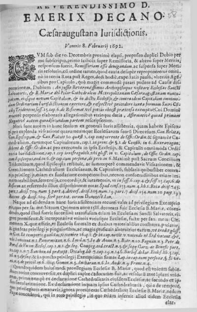 Reverendissimo D. Emerix Decano caesaraugustana iurisdictionis veneris 8 februarii 1692. Cum sub die 10 decembris proximè elapsi, proposito duplici dubio per me subscripto, primo scilicèr ...