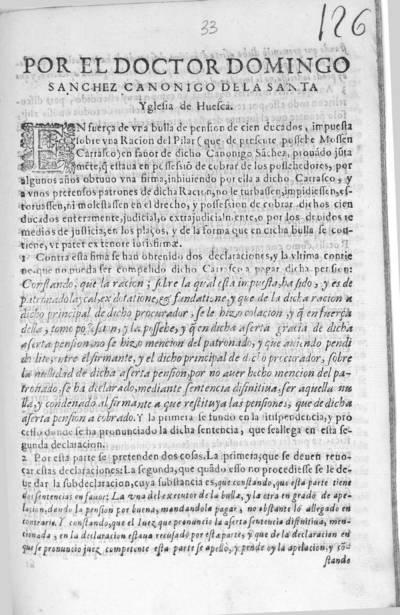 Por el doctor Domingo Sanchez, Canonigo de la Santa Yglesia de Huesca