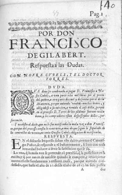 Por Don Francisco de Gilabert : respuesta a las dudas con Nofre Cubels, y el Doctor Torres ...