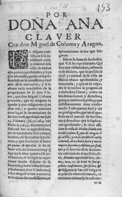 Por Doña Ana Claver con don M guel [sic] de Coloma y Aragon