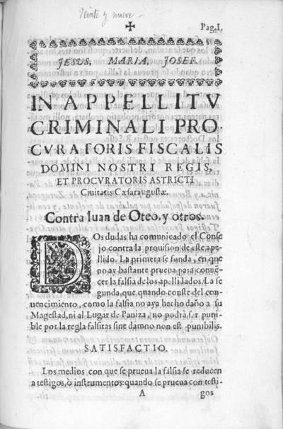 In appellitu criminali procuratoris fiscalis Domini Nostri Regis, et procuratoris astricti civitatis Caesaraugustae : contra Juan Oteo y otros