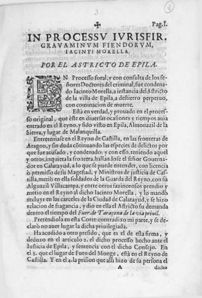 In processu iurisfir. gravaminum fiendorum Iacinti Morella . Por el Astricto de Epila