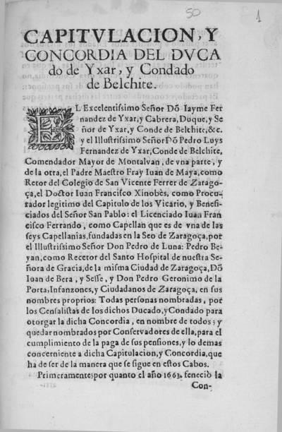 Capitulacion, y concordia del Ducado de Yxar, y Condado de Belchite