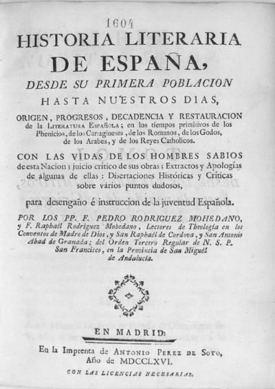 Historia literaria de España desde su primera población hasta nuestros dias