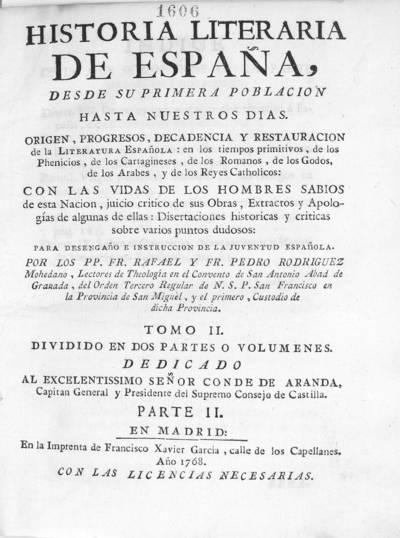 Historia literaria de España, desde su primera población hasta nuestros dias ...