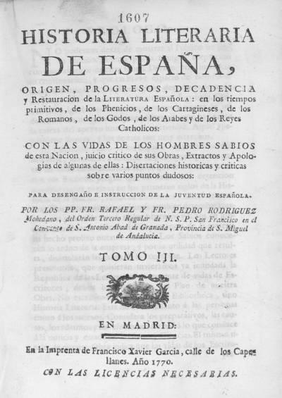 Historia literaria de España desde su primera poblacion hasta nuestros dias ...