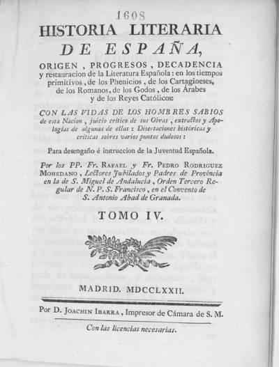 Historia literaria de España ... : con las vidas de los hombres sabios