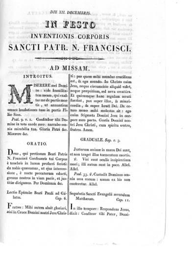 Die XII Decembris in festo inventionis corporis Sancti Patr. N. Francisci ...