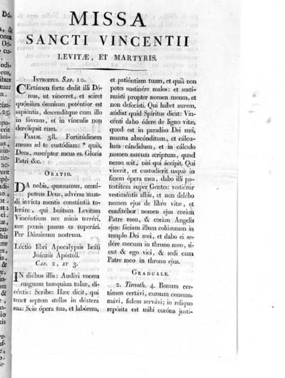 Missa Sancti Vincentii, Levitae, et Martyris