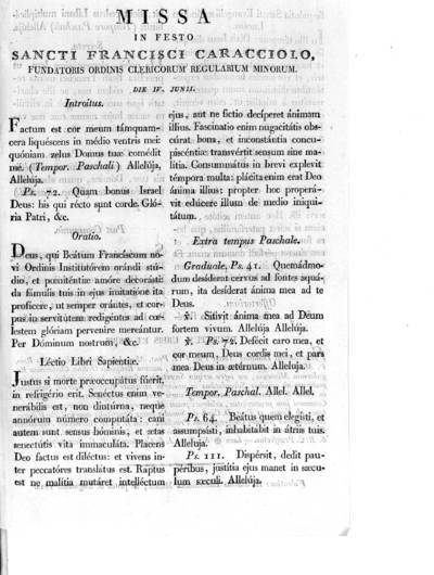 Missa in festo Sancti Francisci Caracciolo, fundatoris ordinis clericorum regularium minorum die IV junii