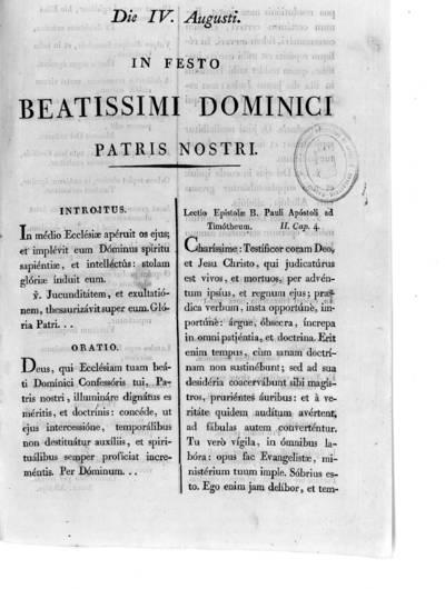 Die IV Augusti In festo Beatissimi Dominici Patris Nostri