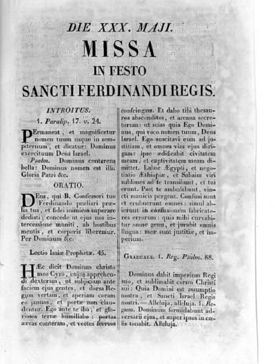 Missa in festo Sancti Ferdinandi Regis Die XXX, Maji