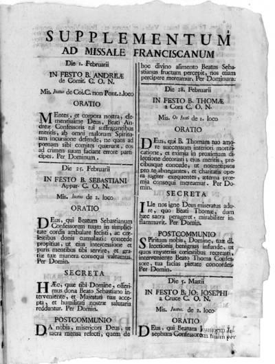 Supplementum ad Missale Franciscanum