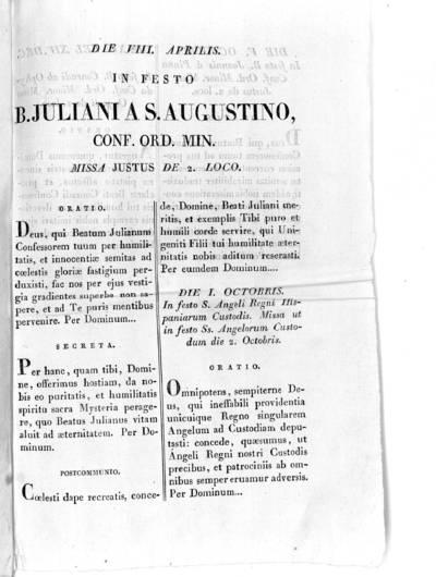Die VIII. Aprilis. In festo B. Juliani A S. Augustino, Conf. Or. Min. missa justus de 2. loco