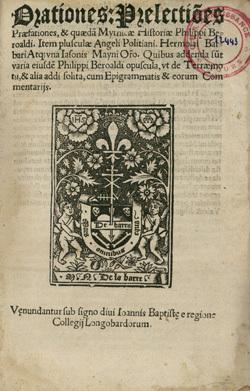 Orationes : prelectiones praefationes, et quaedam mythicae historiae