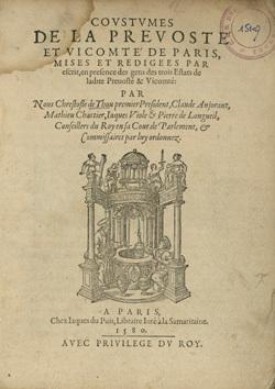 Coustumes de la prevosté et vicomté de Paris