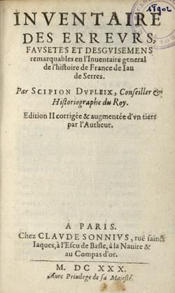 Inventaire des erreurs, fausetés et desguisemens remarquables en l'Inventaire general de l'histoire de France