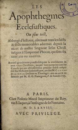 Les Apophthegmes ecclesiastiques