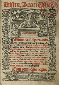 Distinctiones Beati Vincentii Diuini verbi preconis