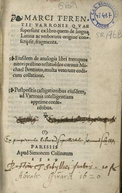 Ex libro quem de lingua Latina ac verborum origine conscripsit, fragmenta. Eiusdem de analogia libri tres