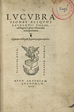 Lucubrationes aliquot Laurentii Vallae