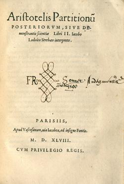 Aristotelis Partitionum posteriorum, sive demonstrantis scientiae Libri II