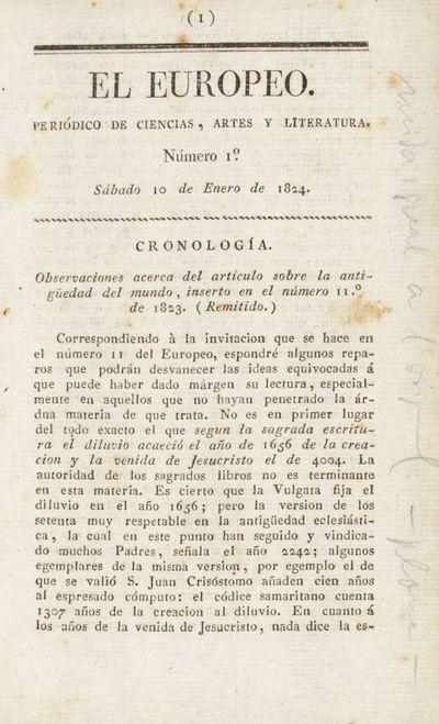 Observaciones acerca del artículo sobre la antigüedad del mundo, inserto en el número 11.º de 1823