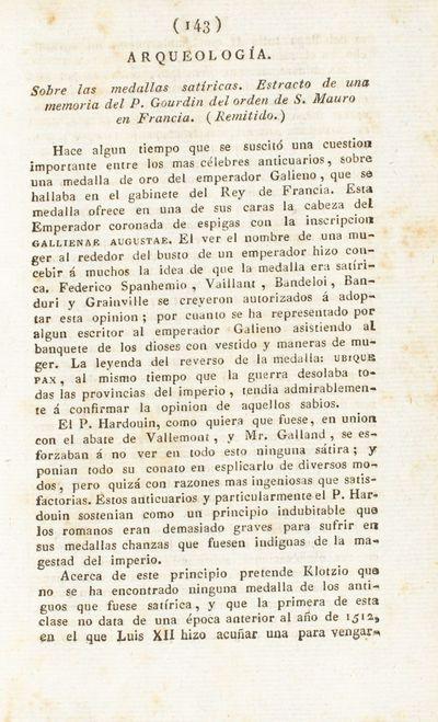 Sobre las medallas satíricas. Estracto de una memoria del P. Gourdin del orden de S. Mauro en Francia