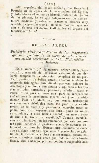 Fisiología pictónica. Noticia de los fragmentos que han quedado de un curso de esta ciencia que estaba escribiendo el doctor Fiol, médico de Mallorca
