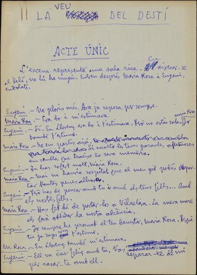 La veu del destí (primer manuscrit, inacabat)
