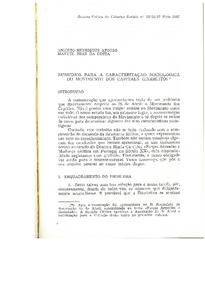 Subsídios para a carcterização sociológica do Movimento dos Capitães : Exército
