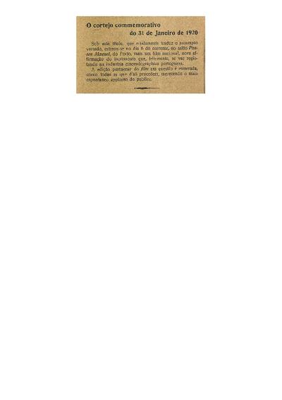 O cortejo commemorativo do 31 de Janeiro de 1920