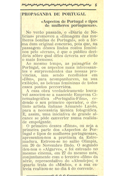Propaganda de Portugal - 'Aspectos de Portugal e tipos de mulheres portuguesas'
