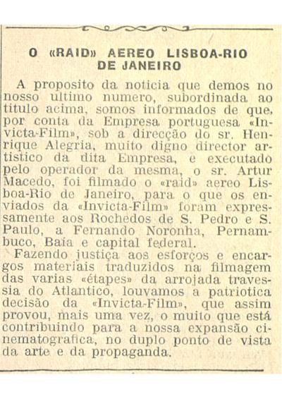 O 'Raid' aereo Lisboa- Rio de Janeiro