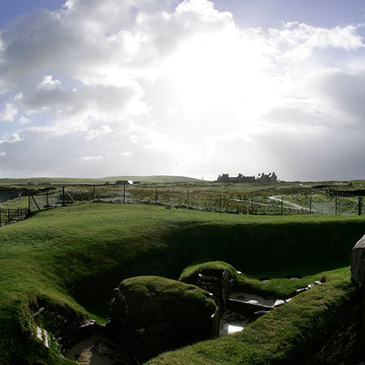 Panoramic Photography of link main street end, Skara Brae